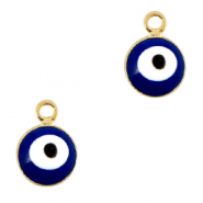 Basic Quality metalen bedels 6mm boze oog Goud-blauw