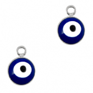 Basic Quality metalen bedels 6mm boze oog Zilver-blauw