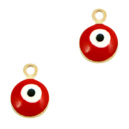 Basic Quality metalen bedels 6mm boze oog Goud-rood