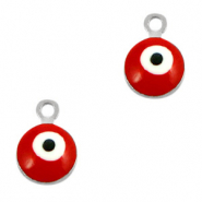 Basic Quality metalen bedels 6mm boze oog Zilver-rood