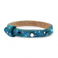 Cuoio armband leer kids mosaic Night tide green