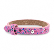 Cuoio armband leer kids mosaic Fuchsia orchid rose