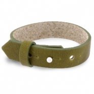 Cuoio armbanden leer 15 mm voor 20 mm cabochon Olive green