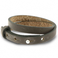 Cuoio armbanden leer 8 mm dubbel voor 12 mm cabochon Warm stone taupe