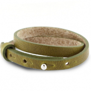 Cuoio armbanden leer 8 mm dubbel voor 12 mm cabochon Olive green