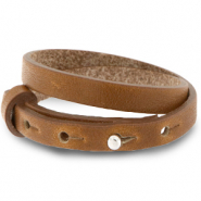 Cuoio armbanden leer 8 mm dubbel voor 12 mm cabochon Saddle brown