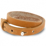 Cuoio armbanden leer 8 mm dubbel voor 12 mm cabochon Copper brown