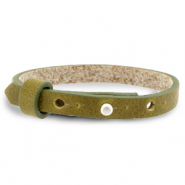 Cuoio armbanden leer 8 mm voor 12 mm cabochon Olive green