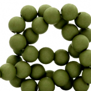 6 mm acryl kralen Dusty olive green