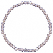 Top facet armbandjes 4x3mm Champagne grey crystal-pearl shine coating