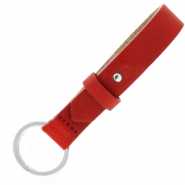 Cuoio sleutelhangers leer 15mm Ruby red