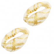 Schelp kralen specials Kauri Gold line-off white