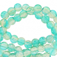 4 mm glaskralen crackle Bleached aqua blue