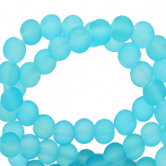 6 mm glaskralen mat Bleached coral blue
