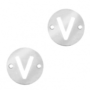 Roestvrij stalen (RVS) Stainless steel bedels tussenstuk rond 10mm initial coin V Zilver