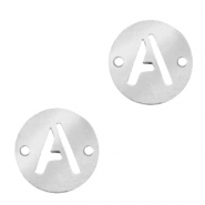 Roestvrij stalen (RVS) Stainless steel bedels tussenstuk rond 10mm initial coin A Zilver