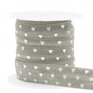 Elastisch lint hearts Taupe-silver