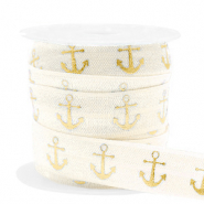 Elastisch lint anchor Silk white-gold