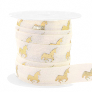 Elastisch lint unicorn Silk white-gold