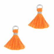 Kwastjes 1cm Silver-neon orange