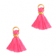 Kwastjes 1cm Gold-hot pink