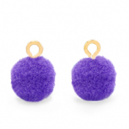 Pompom bedels met oog 10mm Gold-Purple