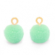 Pompom bedels met oog 10mm Gold-Green ash
