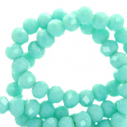 Top Facet kralen 4x3 mm disc Bleached aqua turquoise-pearl shine coating