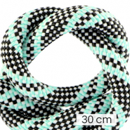 Maritiem koord 10mm (3x30cm) Multicolour turquoise black