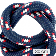 Maritiem koord 10mm (3x30cm) Multicolour red white blue
