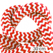 Maritiem koord 10mm (3x30cm) White-red