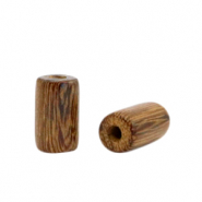 Houten kralen tube 10mm Tobacco brown