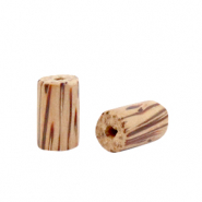 Houten kralen tube 10mm Teak brown