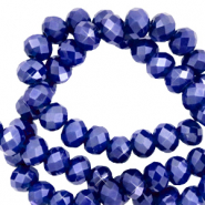 Top Facet kralen 6x4 mm disc Egyptian blue-pearl shine coating