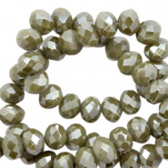 Top Facet kralen 3x2 mm disc Dried herb green-pearl shine coating