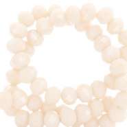 Top Facet kralen 8x6 mm disc Silk off white-pearl shine coating