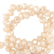 Top Facet kralen 3x2 mm disc Silk off white-pearl shine coating