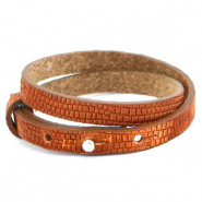 Cuoio armbanden leer croco 8 mm dubbel voor 12 mm cabochon Samba orange