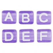 Letterkralen van acryl mix Purple-white