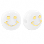 Letterkralen van acryl smiley White-gold