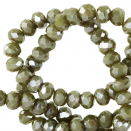 Top Facet kralen 3x2 mm disc Military green-pearl shine coating