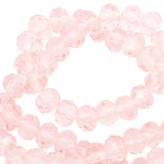 Top Facet kralen 6x4 mm disc Pale French pink-pearl shine coating
