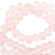 Top Facet kralen 3x2 mm disc Pale French pink-pearl shine coating