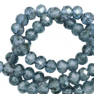 Top Facet kralen 4x3 mm disc Stone blue-pearl shine coating