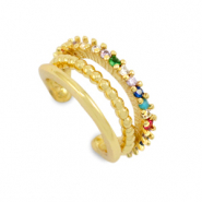Zirkonia rainbow ear cuff Gold