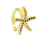 Zirkonia rainbow ear cuff sea star Gold