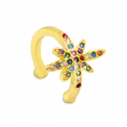 Zirkonia rainbow ear cuff  star Gold