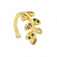 Zirkonia rainbow ear cuff leaf Gold