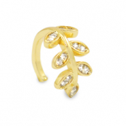 Zirkonia ear cuff leaf Gold