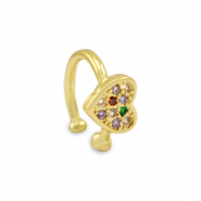 Zirkonia rainbow ear cuff heart Gold